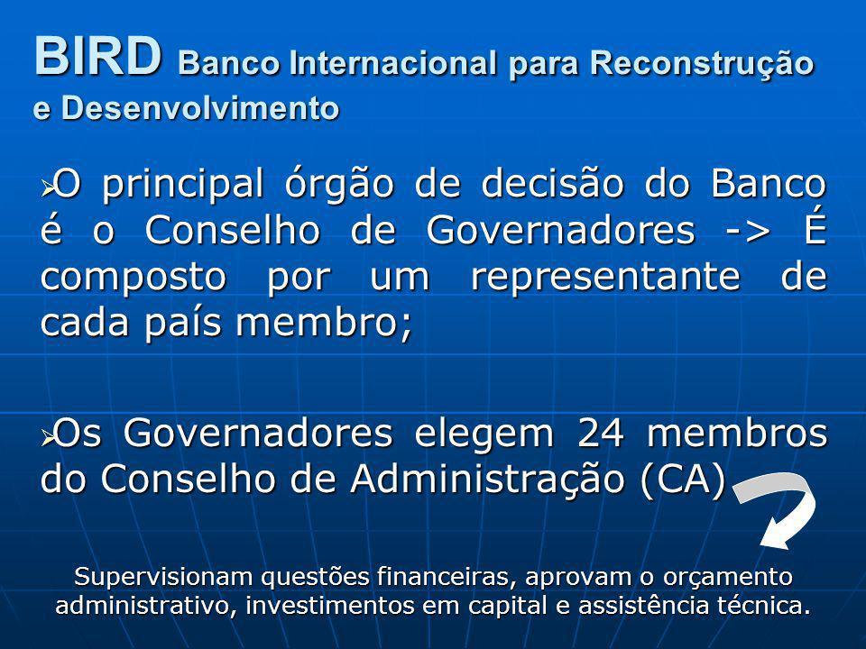 O principal órgão de decisão do Banco é o Conselho de Governadores -> É composto por um representante de cada país membro; O principal órgão de decisã