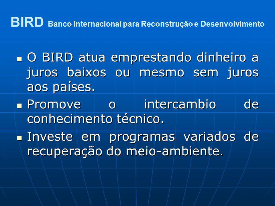 O BIRD atua emprestando dinheiro a juros baixos ou mesmo sem juros aos países. O BIRD atua emprestando dinheiro a juros baixos ou mesmo sem juros aos