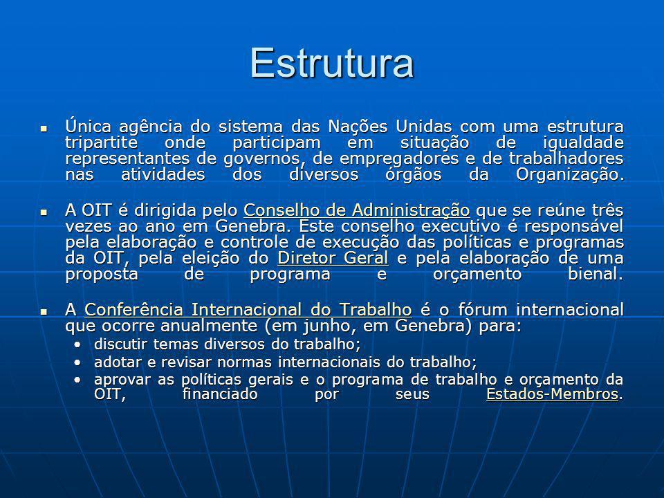 Estrutura Única agência do sistema das Nações Unidas com uma estrutura tripartite onde participam em situação de igualdade representantes de governos,