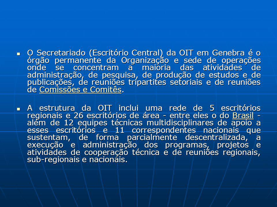 O Secretariado (Escritório Central) da OIT em Genebra é o órgão permanente da Organização e sede de operações onde se concentram a maioria das ativida
