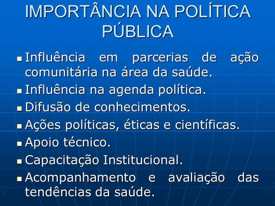 IMPORTÂNCIA NA POLÍTICA PÚBLICA Influência em parcerias de ação comunitária na área da saúde. Influência em parcerias de ação comunitária na área da s