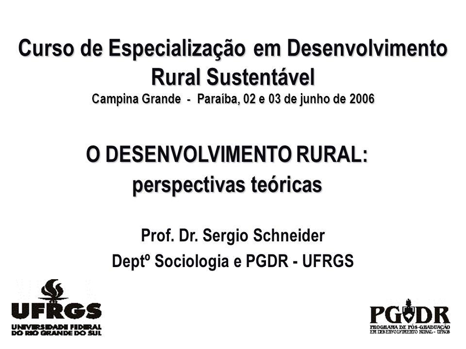 O DESENVOLVIMENTO RURAL: perspectivas teóricas Prof. Dr. Sergio Schneider Deptº Sociologia e PGDR - UFRGS Curso de Especialização em Desenvolvimento R