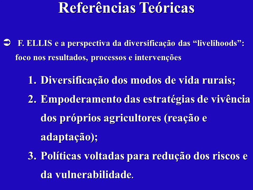 Referências Teóricas F. ELLIS e a perspectiva da diversificação das livelihoods: foco nos resultados, processos e intervenções F. ELLIS e a perspectiv