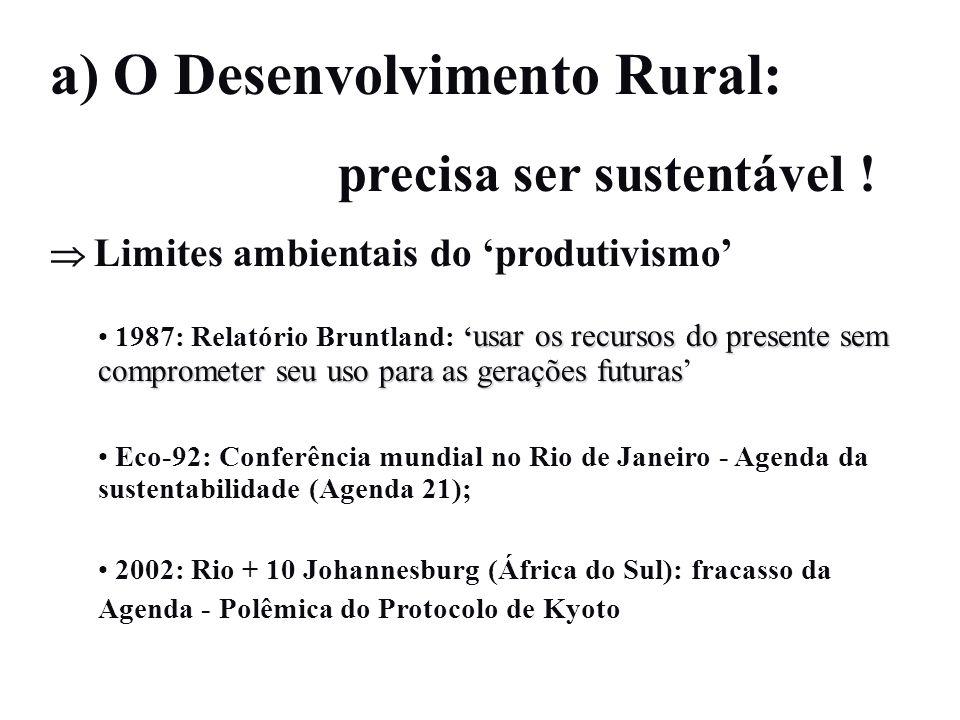 a) O Desenvolvimento Rural: precisa ser sustentável ! Limites ambientais do produtivismo usar os recursos do presente sem comprometer seu uso para as