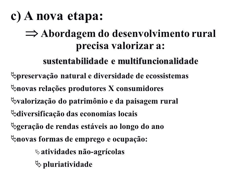 c) A nova etapa: Abordagem do desenvolvimento rural precisa valorizar a: sustentabilidade e multifuncionalidade preservação natural e diversidade de e