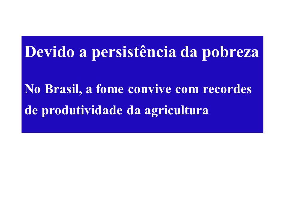Devido a persistência da pobreza No Brasil, a fome convive com recordes de produtividade da agricultura