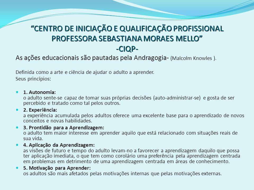 CENTRO DE INICIAÇÃO E QUALIFICAÇÃO PROFISSIONAL PROFESSORA SEBASTIANA MORAES MELLO -CIQP- As ações educacionais são pautadas pela Andragogia- (Malcolm