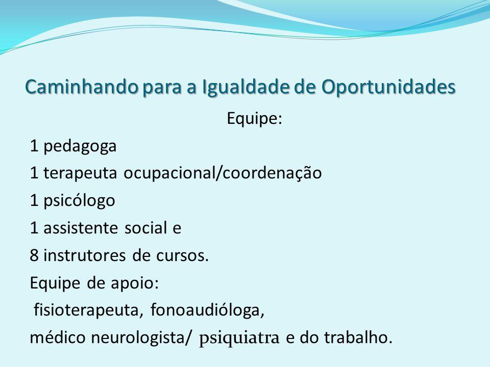 Caminhando para a Igualdade de Oportunidades Equipe: 1 pedagoga 1 terapeuta ocupacional/coordenação 1 psicólogo 1 assistente social e 8 instrutores de