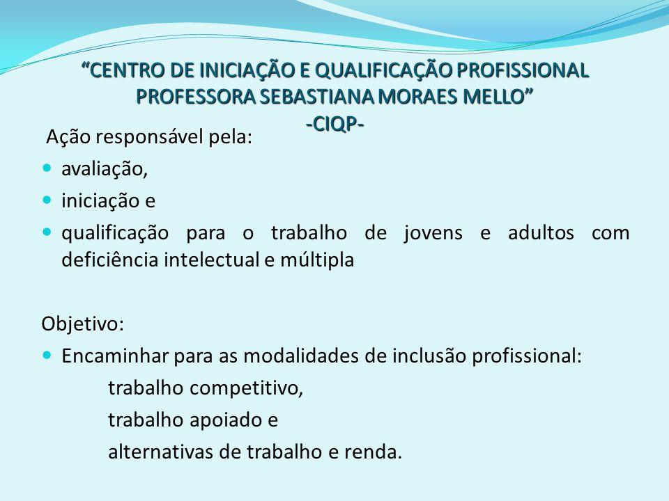 CENTRO DE INICIAÇÃO E QUALIFICAÇÃO PROFISSIONAL PROFESSORA SEBASTIANA MORAES MELLO -CIQP- Ação responsável pela: avaliação, iniciação e qualificação p