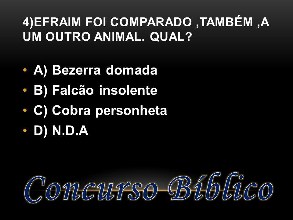 4)EFRAIM FOI COMPARADO,TAMBÉM,A UM OUTRO ANIMAL. QUAL? A) Bezerra domada B) Falcão insolente C) Cobra personheta D) N.D.A