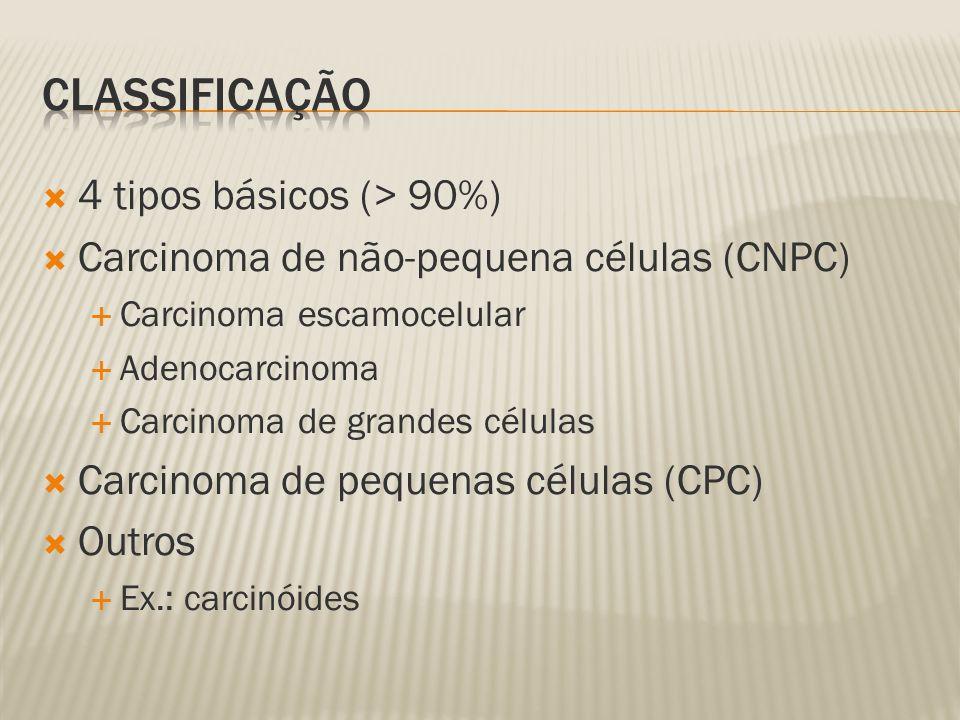 4 tipos básicos (> 90%) Carcinoma de não-pequena células (CNPC) Carcinoma escamocelular Adenocarcinoma Carcinoma de grandes células Carcinoma de pequenas células (CPC) Outros Ex.: carcinóides