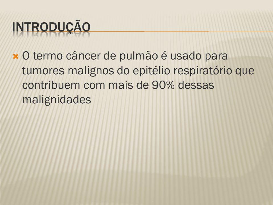 O termo câncer de pulmão é usado para tumores malignos do epitélio respiratório que contribuem com mais de 90% dessas malignidades