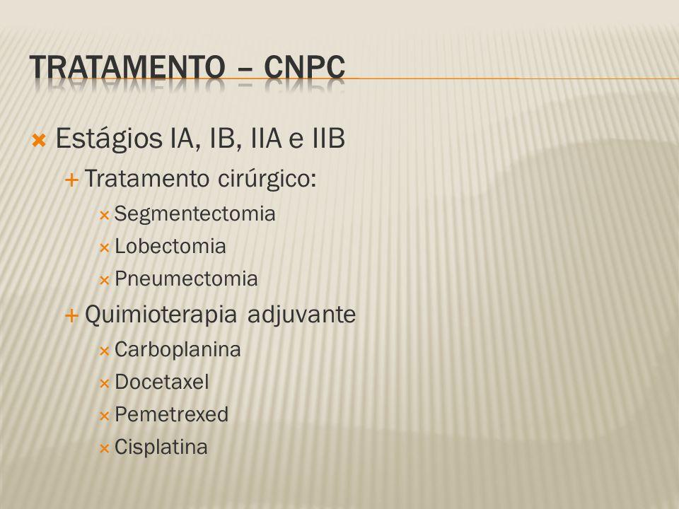 Estágios IA, IB, IIA e IIB Tratamento cirúrgico: Segmentectomia Lobectomia Pneumectomia Quimioterapia adjuvante Carboplanina Docetaxel Pemetrexed Cisplatina