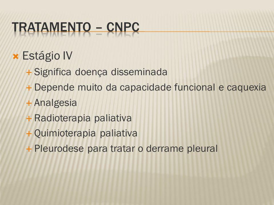 Estágio IV Significa doença disseminada Depende muito da capacidade funcional e caquexia Analgesia Radioterapia paliativa Quimioterapia paliativa Pleurodese para tratar o derrame pleural