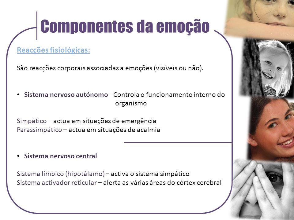 Componentes da emoção Reacções fisiológicas: São reacções corporais associadas a emoções (visíveis ou não).