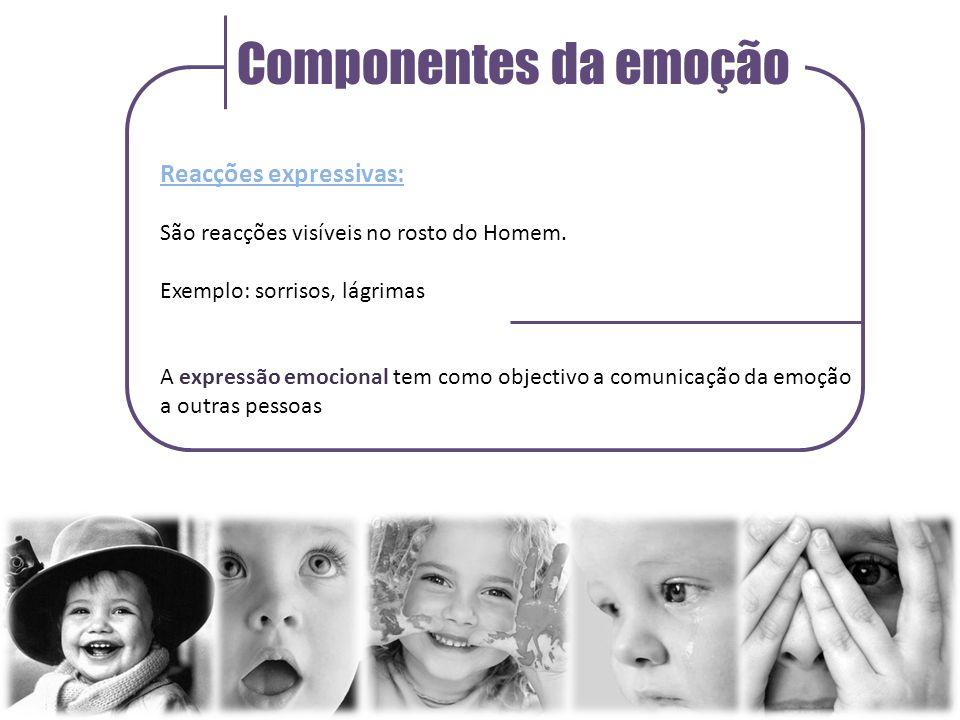 Componentes da emoção Reacções expressivas: São reacções visíveis no rosto do Homem.