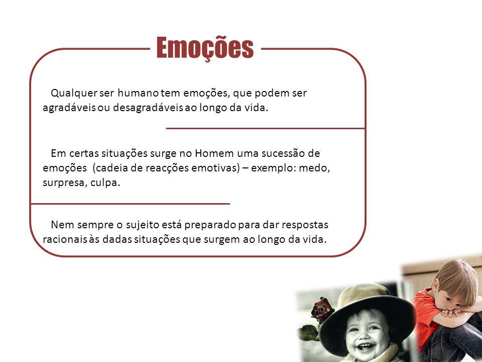 Emoções Qualquer ser humano tem emoções, que podem ser agradáveis ou desagradáveis ao longo da vida.
