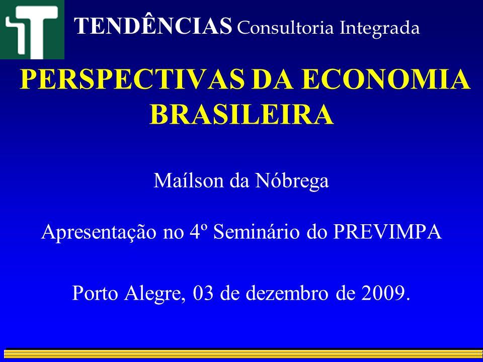 A CRISE No mundo –Pior já passou –Depressão improvável –Dúvida: ritmo e duração da recuperação No Brasil –Passamos bem no teste: forte resistência –Recessão curta –Desempenho melhor do que outros países