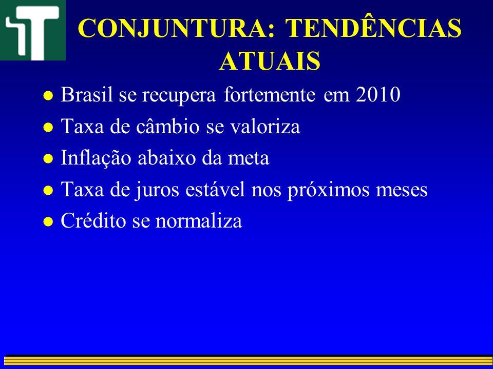 CONJUNTURA: TENDÊNCIAS ATUAIS l Brasil se recupera fortemente em 2010 l Taxa de câmbio se valoriza l Inflação abaixo da meta l Taxa de juros estável n