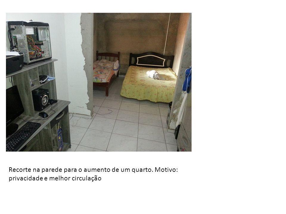 Recorte na parede para o aumento de um quarto. Motivo: privacidade e melhor circulação