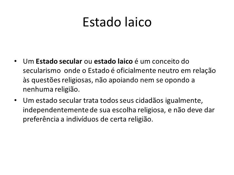 Estado laico Um Estado secular ou estado laico é um conceito do secularismo onde o Estado é oficialmente neutro em relação às questões religiosas, não apoiando nem se opondo a nenhuma religião.