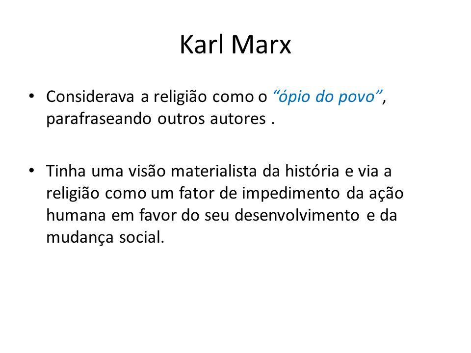 Karl Marx Considerava a religião como o ópio do povo, parafraseando outros autores.