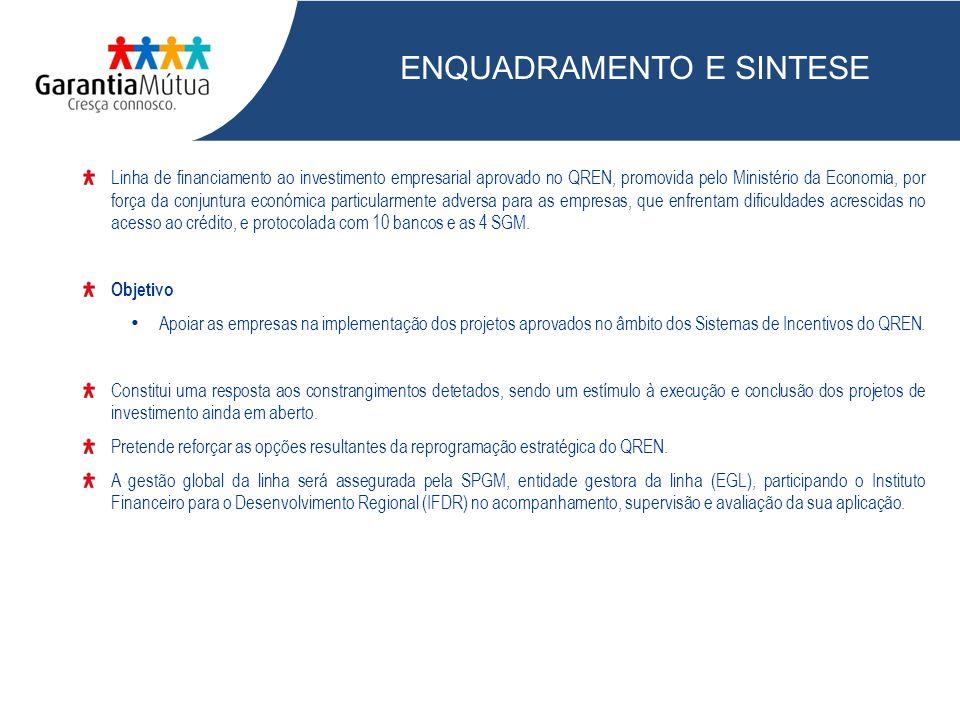 MONTANTE GLOBAL E LINHAS ESPECIFICAS COMPETE 714 M Impulso Jovem 100 M PO Algarve 8 M Iniciativa Valorizar 100 M PO Lisboa 29 M PO Madeira 28 M PO Açores 21 M 1 000 M Dotação financeira: 500 milhões: empréstimo quadro Estado Português + BEI (QREN EQ) 500 milhões: Bancos aderentes