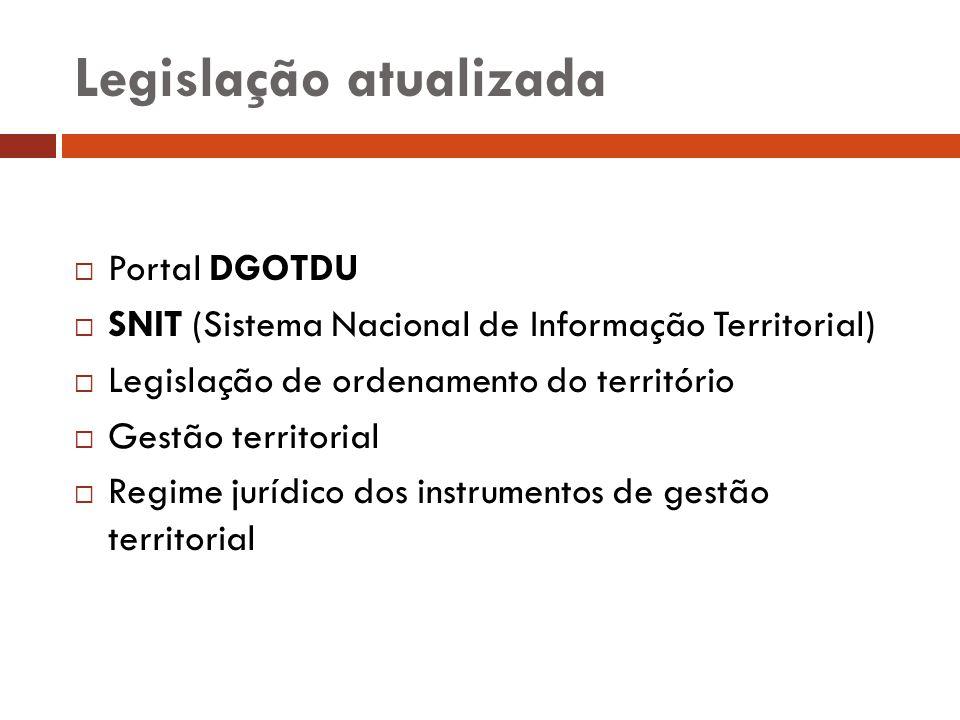 Legislação atualizada Portal DGOTDU SNIT (Sistema Nacional de Informação Territorial) Legislação de ordenamento do território Gestão territorial Regim