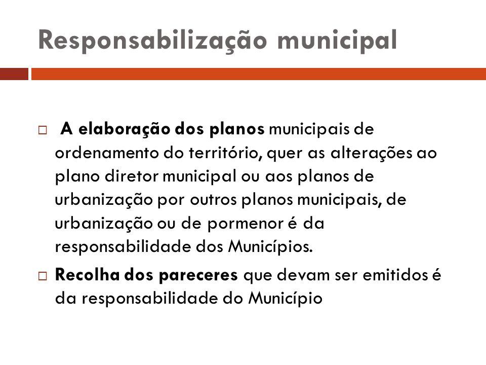 Responsabilização municipal A elaboração dos planos municipais de ordenamento do território, quer as alterações ao plano diretor municipal ou aos plan