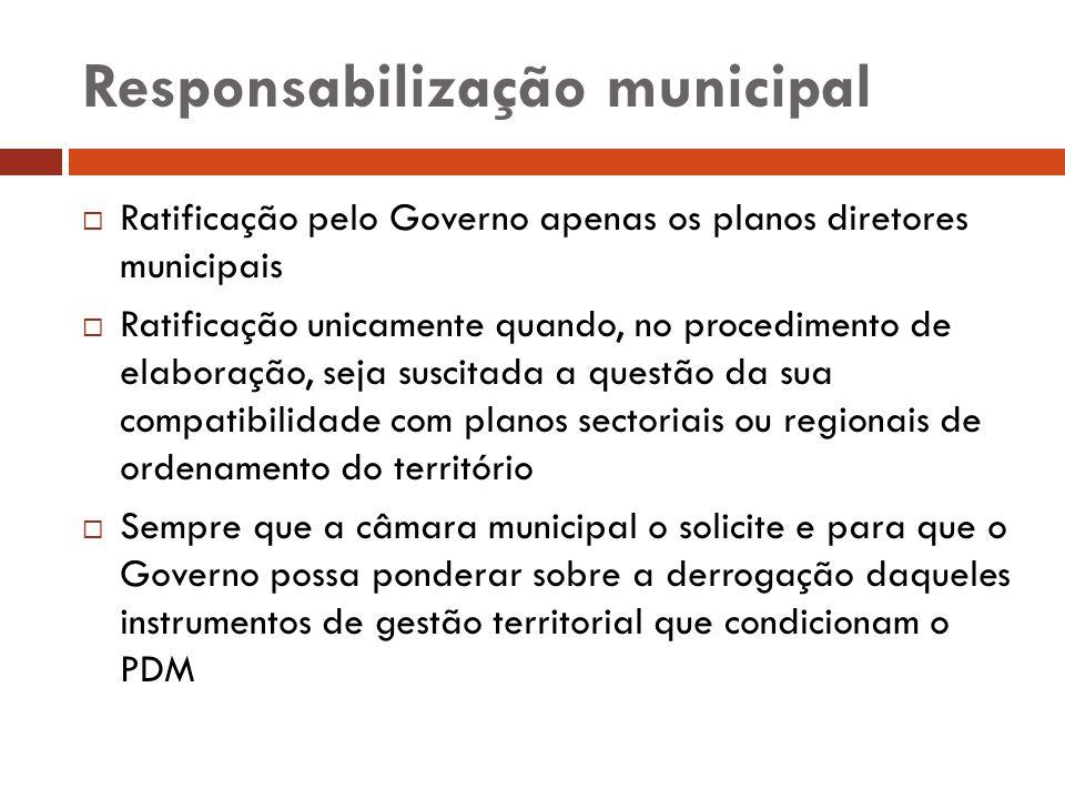 Responsabilização municipal Ratificação pelo Governo apenas os planos diretores municipais Ratificação unicamente quando, no procedimento de elaboraçã