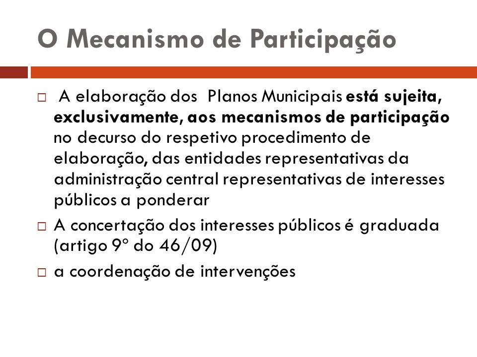 O Mecanismo de Participação A elaboração dos Planos Municipais está sujeita, exclusivamente, aos mecanismos de participação no decurso do respetivo pr