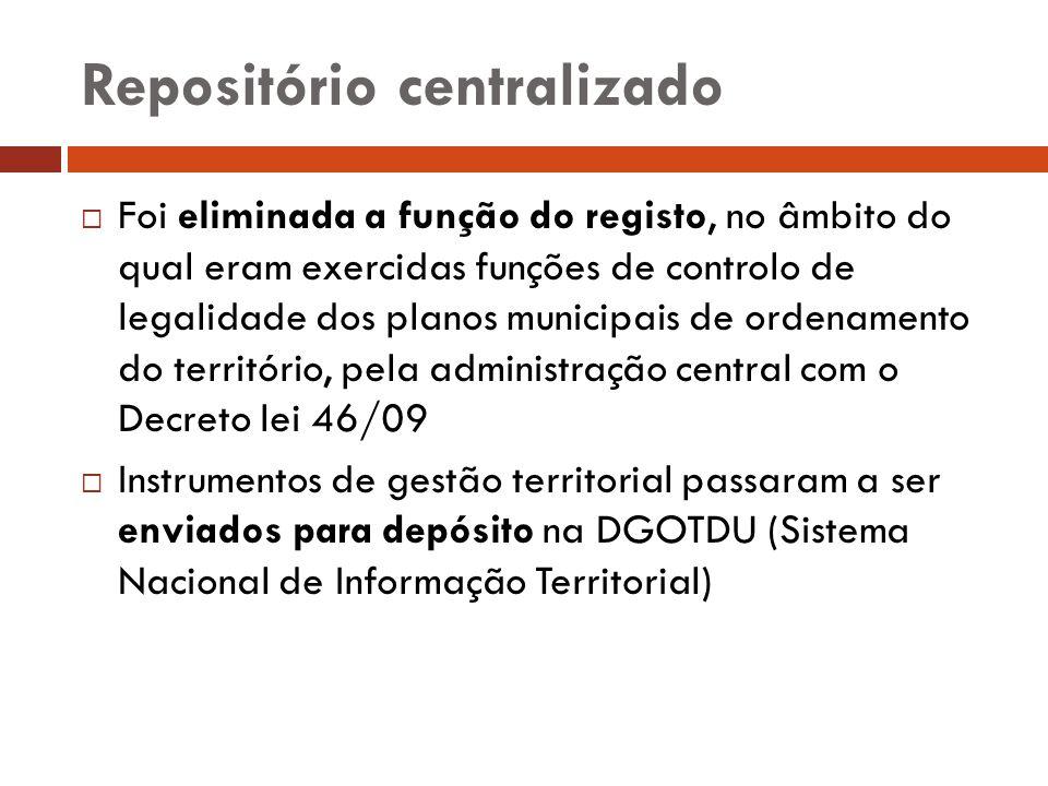 Repositório centralizado Foi eliminada a função do registo, no âmbito do qual eram exercidas funções de controlo de legalidade dos planos municipais d