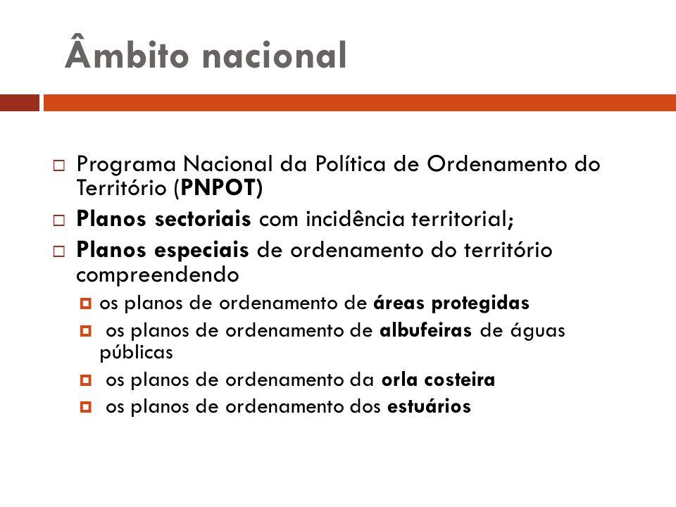 Âmbito nacional Programa Nacional da Política de Ordenamento do Território (PNPOT) Planos sectoriais com incidência territorial; Planos especiais de o
