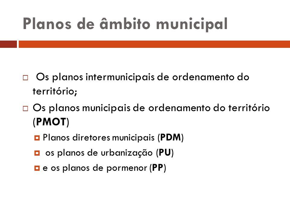 Planos de âmbito municipal Os planos intermunicipais de ordenamento do território; Os planos municipais de ordenamento do território (PMOT) Planos dir