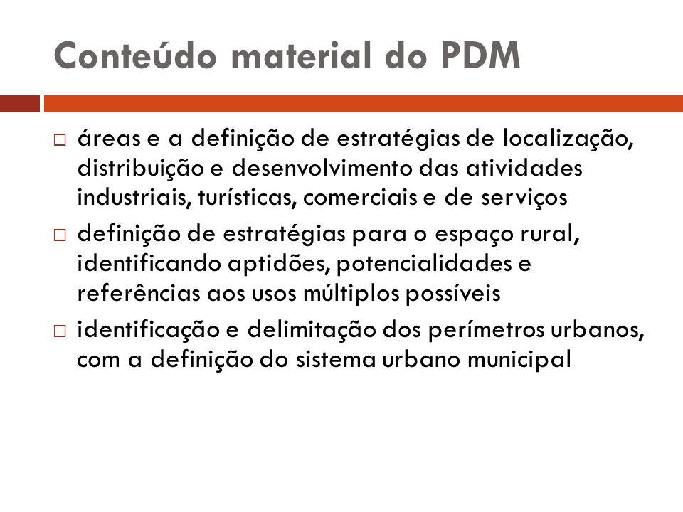 Conteúdo material do PDM áreas e a definição de estratégias de localização, distribuição e desenvolvimento das atividades industriais, turísticas, com