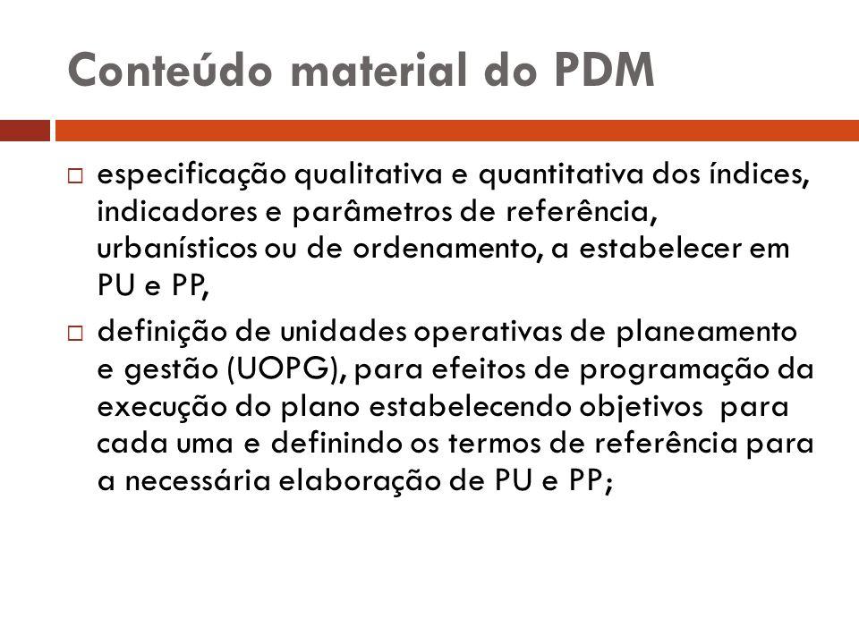 Conteúdo material do PDM especificação qualitativa e quantitativa dos índices, indicadores e parâmetros de referência, urbanísticos ou de ordenamento,
