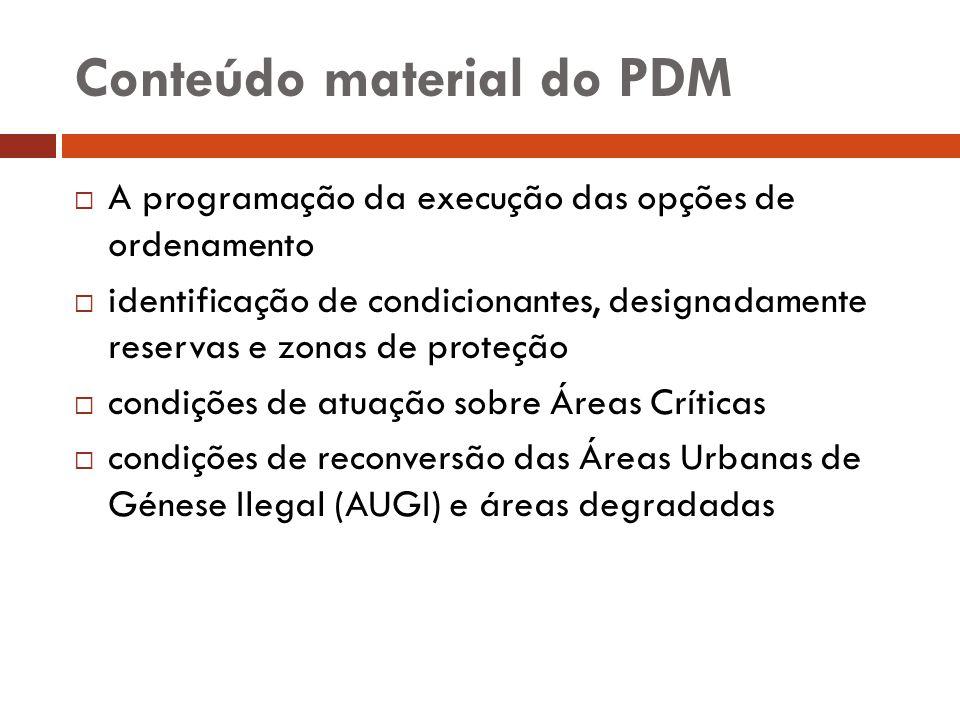 Conteúdo material do PDM A programação da execução das opções de ordenamento identificação de condicionantes, designadamente reservas e zonas de prote