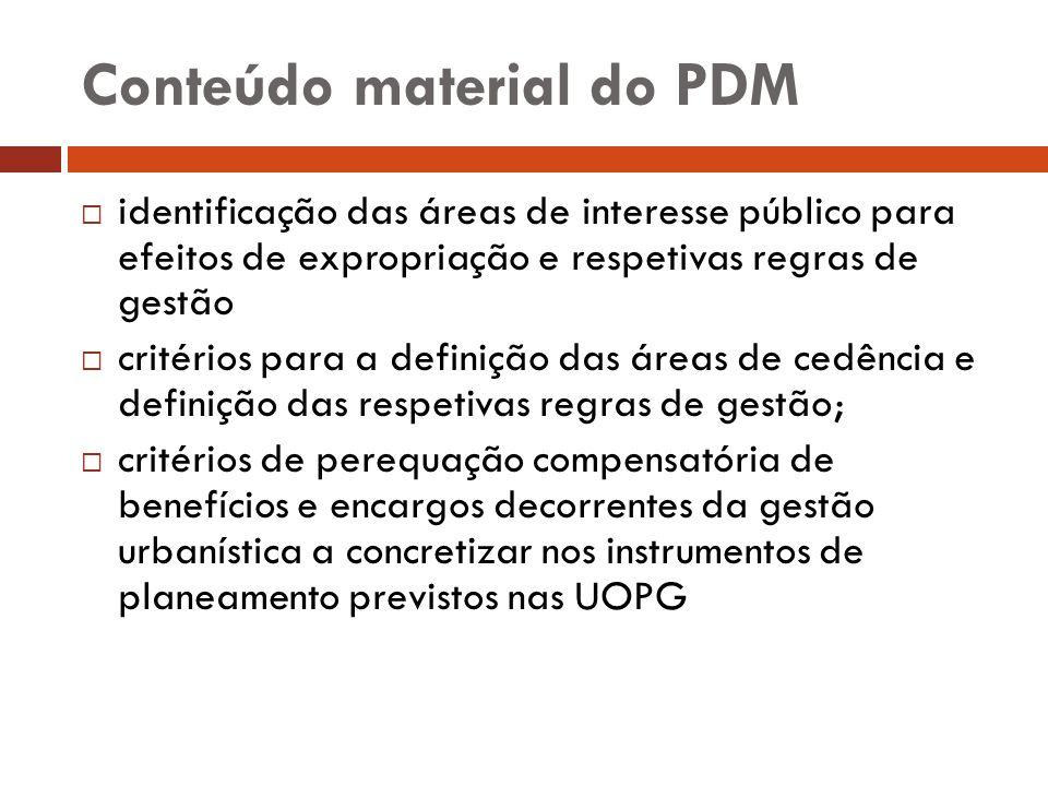 Conteúdo material do PDM identificação das áreas de interesse público para efeitos de expropriação e respetivas regras de gestão critérios para a defi