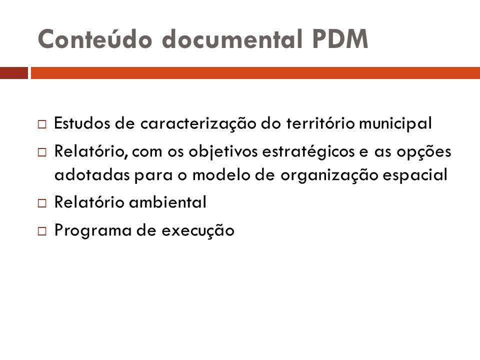 Conteúdo documental PDM Estudos de caracterização do território municipal Relatório, com os objetivos estratégicos e as opções adotadas para o modelo