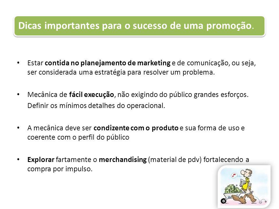 Dicas importantes para o sucesso de uma promoção. Estar contida no planejamento de marketing e de comunicação, ou seja, ser considerada uma estratégia