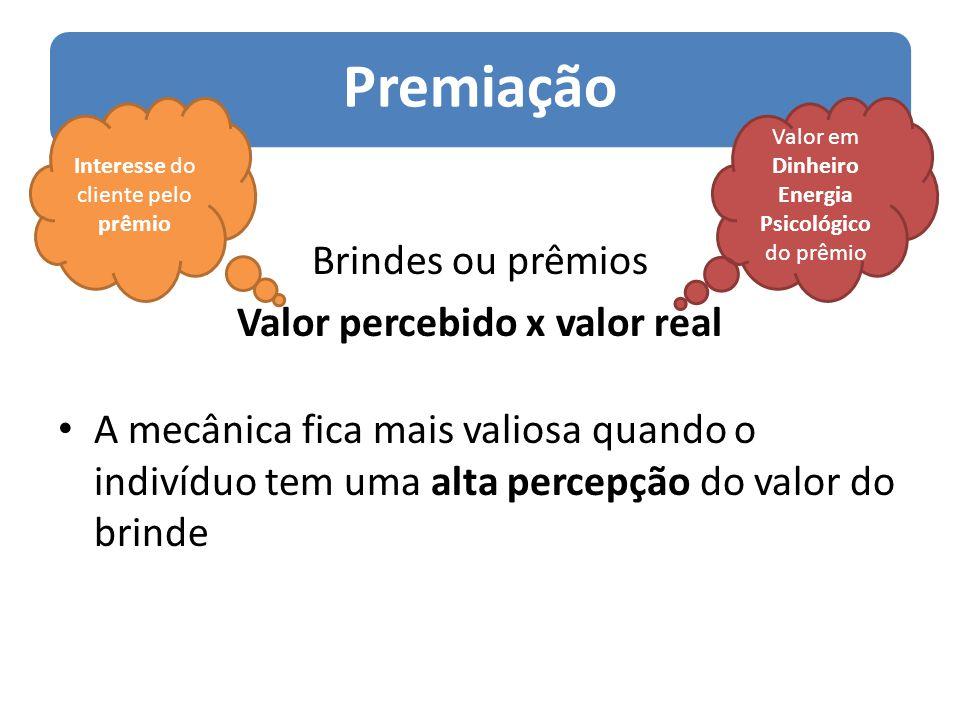 Premiação Brindes ou prêmios Valor percebido x valor real A mecânica fica mais valiosa quando o indivíduo tem uma alta percepção do valor do brinde In