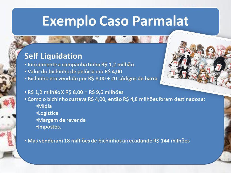 Exemplo Caso Parmalat Self Liquidation Inicialmente a campanha tinha R$ 1,2 milhão. Valor do bichinho de pelúcia era R$ 4,00 Bichinho era vendido por