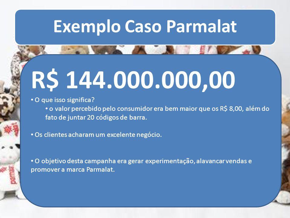 Exemplo Caso Parmalat R$ 144.000.000,00 O que isso significa? o valor percebido pelo consumidor era bem maior que os R$ 8,00, além do fato de juntar 2