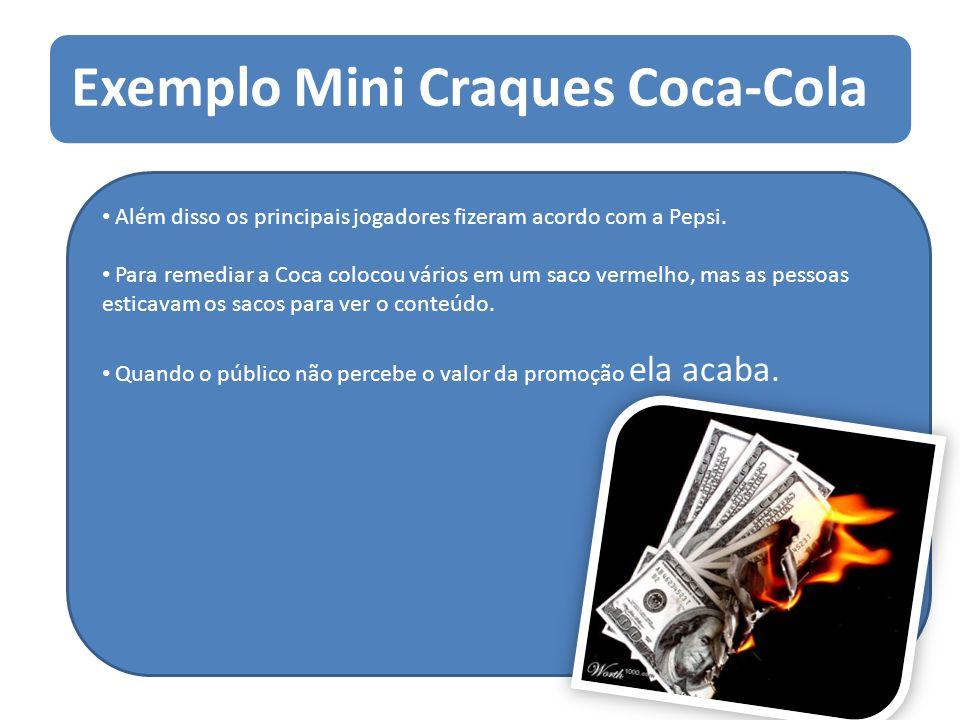 Exemplo Mini Craques Coca-Cola Além disso os principais jogadores fizeram acordo com a Pepsi. Para remediar a Coca colocou vários em um saco vermelho,