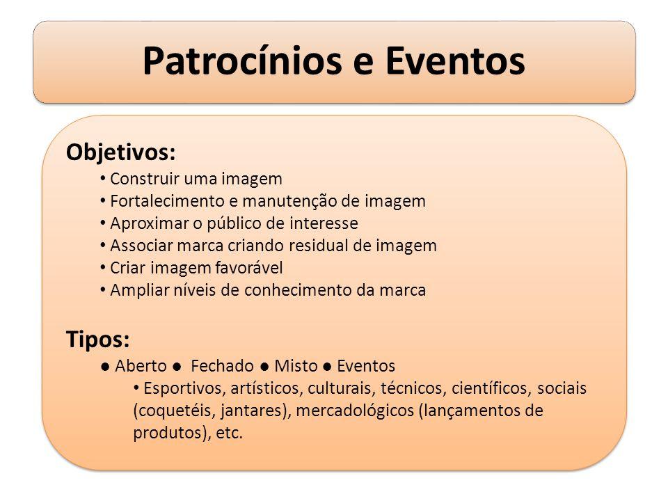 Patrocínios e Eventos Objetivos: Construir uma imagem Fortalecimento e manutenção de imagem Aproximar o público de interesse Associar marca criando re