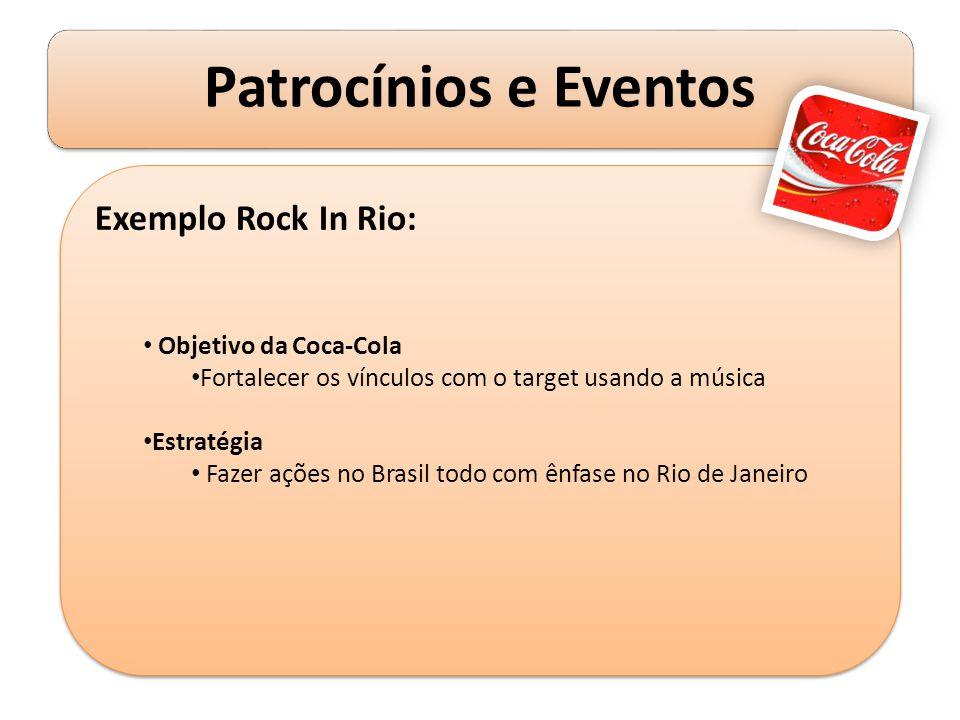 Exemplo Rock In Rio: Objetivo da Coca-Cola Fortalecer os vínculos com o target usando a música Estratégia Fazer ações no Brasil todo com ênfase no Rio