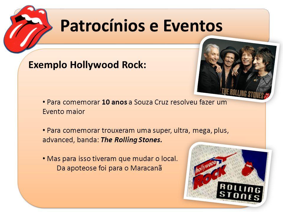 Patrocínios e Eventos Exemplo Hollywood Rock: Para comemorar 10 anos a Souza Cruz resolveu fazer um Evento maior Para comemorar trouxeram uma super, u