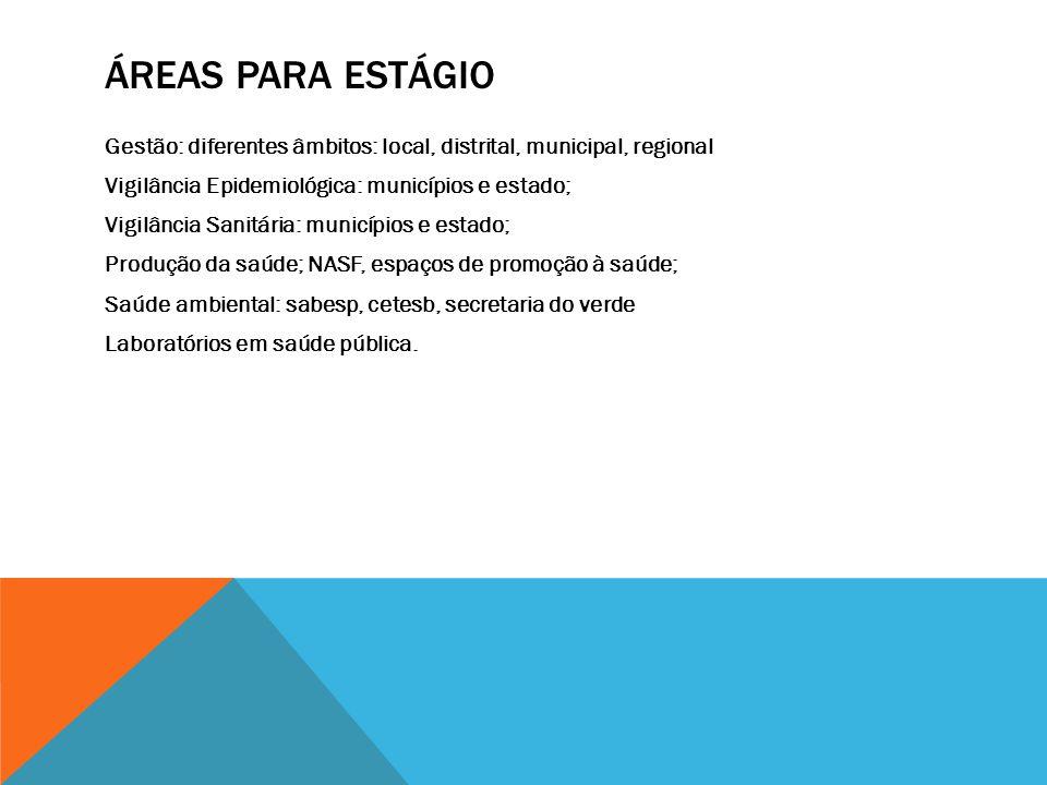 ÁREAS PARA ESTÁGIO Gestão: diferentes âmbitos: local, distrital, municipal, regional Vigilância Epidemiológica: municípios e estado; Vigilância Sanitá