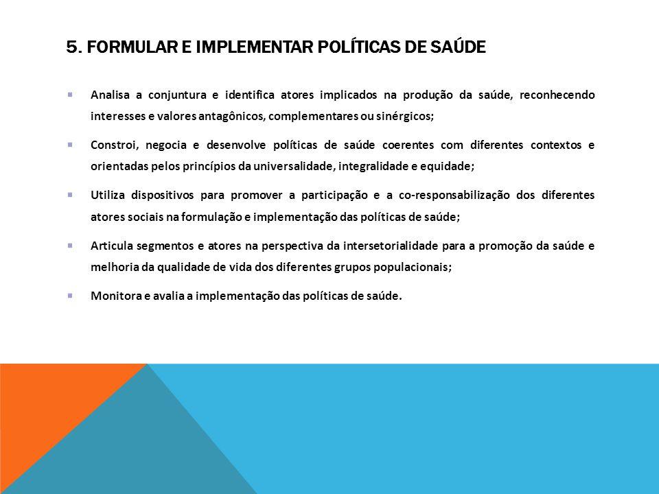 5. FORMULAR E IMPLEMENTAR POLÍTICAS DE SAÚDE Analisa a conjuntura e identifica atores implicados na produção da saúde, reconhecendo interesses e valor