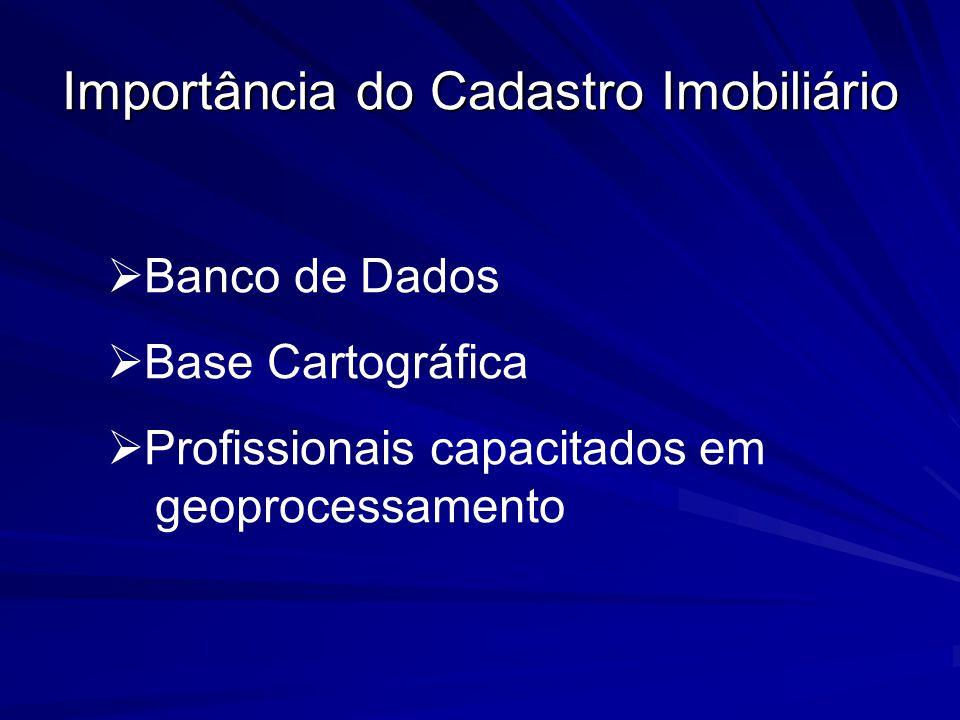 Importância do Cadastro Imobiliário Banco de Dados Base Cartográfica Profissionais capacitados em geoprocessamento